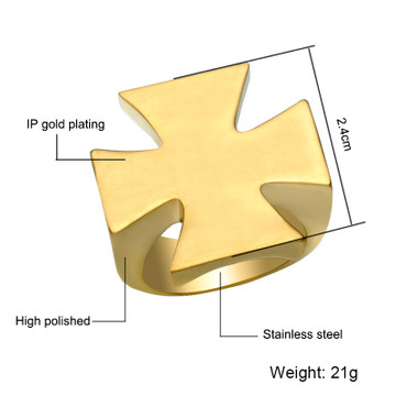 Mens Bling Gold Silver Color Titanium Stainless Steel Pattee Cross Ring