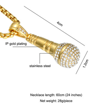 Hip Hop One Mic 14k Gold Silver Titanium Stainless Steel Iced Out Microphone Chain Pendant