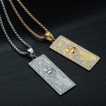 Iced Out Stainless Steel Laughing To The Bank 100 Dollars Money Pendant