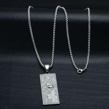 Iced Out 14k Gold Silver Stainless Steel Laughing To The Bank 100 Dollars Money Chain Pendant