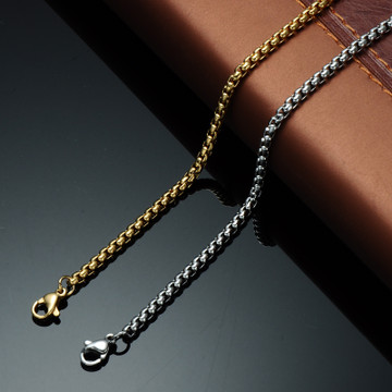 Mens Hip Hop 24 Inch 6mm 316L Stainless Steel Square Pearl Link Chain Necklace