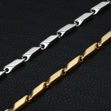 Men's High Polished Titanium Stainless Steel 55CM Long Stick Aberdeen Chain Necklace