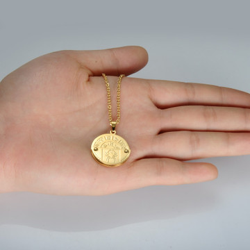 Constellation Gold Stainless Steel 12 Zodiac Round Chain Pendant