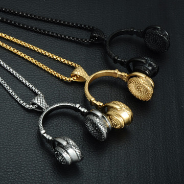 Mens Hip Hop Titanium Stainless Steel Headphones Headset Music Chain Pendant