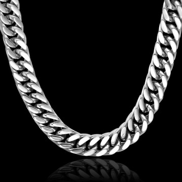 Hip Hop 24 Inch 15MM Cut Heavy Titanium Stainless Steel Double Curb Cuban Link Rombo Chain Necklace
