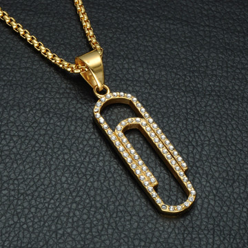Hip Hop 14k Gold Stainless Steel Micro Pave Simulated Diamond Paperclip Chain Pendant