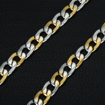 Hip Hop Two Tone Gold Color Titanium Stainless Steel 60CM Curb Cuban Link Chain
