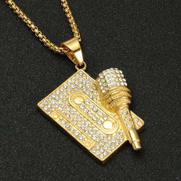 Iced Out Microphone MixTape Stainless Steel Hip Hop Chain Pendant