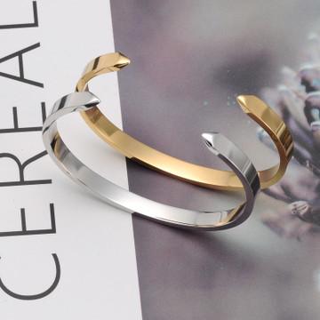 Ladies 14k Gold Silver Titanium Stainless Steel Arrow Open Cuff Bangle Bracelet
