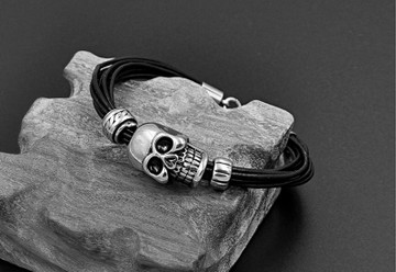 Mens Skull Skeleton Black Genuine Leather Woven Stainless Steel Street Bracelet