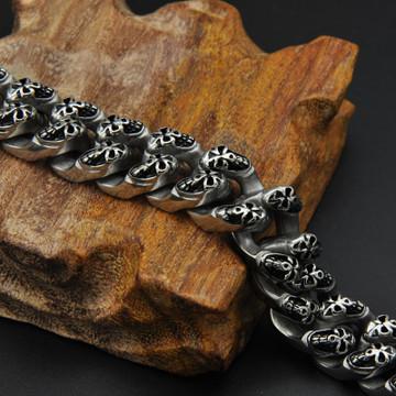 Mens 316L Stainless Steel Ghost Skull Skeleton Link Chain Bracelet
