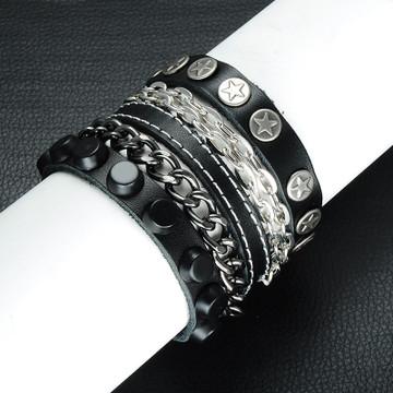 Mens Hip Hop Rocker Style Unique Metal Chain Leather Pharaoh Bracelet