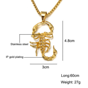 14k Gold Titanium Stainless Steel Iced Out Lab Diamond Scorpion Pendant