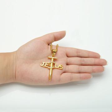 Titanium Stainless Steel 14k Gold Jesus Nail Cross Pendant Chain Necklace