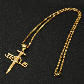 14k Gold Iced Out Titanium Stainless Jesus Nail Cross Pendant