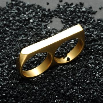 Hip Hop 14k Gold Black Silver Two Finger Titanium Stainless Steel Ring