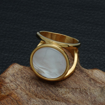 Elegant Round White Natural Shell 14k Gold Silver Stainless Steel Big Stone Ring