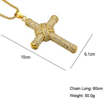 Bling Bling 14k Gold Titanium Stainless Steel Bling Micro Pave Ribbon Cross Chain Pendant