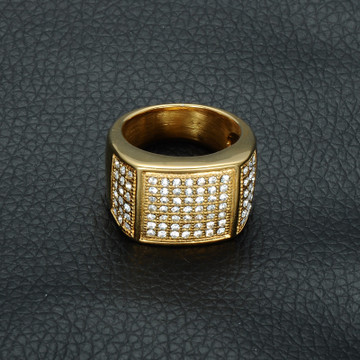 14k Gold Micro Pave Simulated Diamond Iced Out Bling Stainless Steel Square Cut Ring