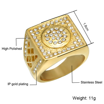 14k Gold Over Stainless Steel Hip Hop Micro Pave Geo Square Titanium Ring