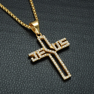 14k Gold Simulated Diamond Stainless Steel Hollow Jesus Name Chain Pendant