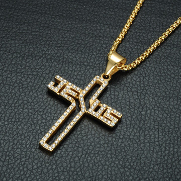 14k Gold Lab Diamond Stainless Steel Hollow Jesus Name Chain Pendant