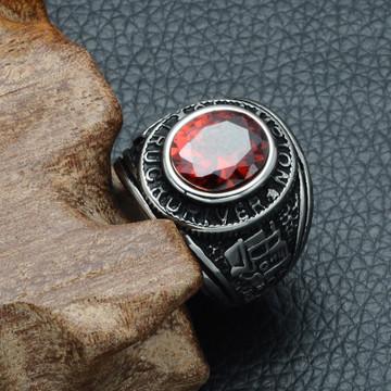 Mens Vintage Natural Stone Black Silver Runes Titanium Stainless Steel Trucker Big Gigs Ring