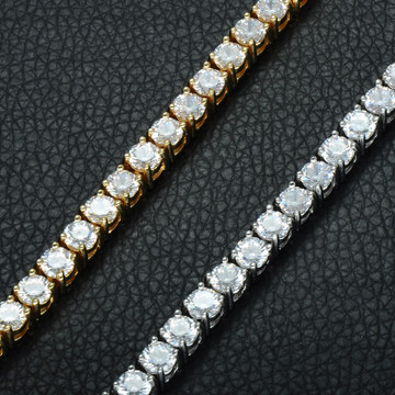Mens Hip Hop Simulated Diamond 1 Row Tennis Chain Bracelet 14k Gold Silver