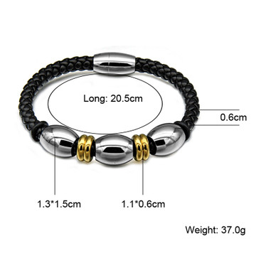 Mens Hand Made Bead Genuine Leather Stainless Steel Magnet Buckle Bracelet