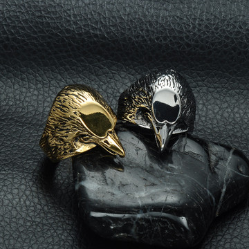Mens 14k Gold Filled Titanium Stainless Steel Heavy Metal Bald Eagle Head Ring