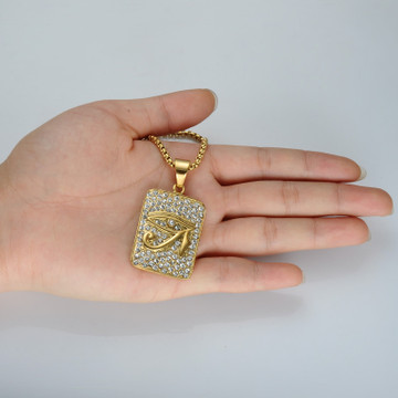 14k Gold Stainless Steel Bling Hip Hop Lab Diamond Eye of Horus Pendant Dog Tag Chain Pendant