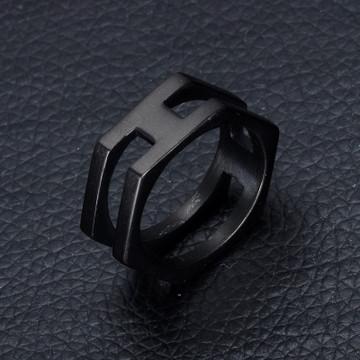 14 Gold Black Color Titanium Stainless Steel Hexagonal Unique Ring