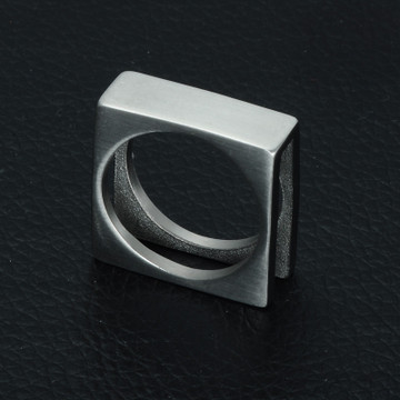 Mens 14k Gold Silver Titanium Stainless Steel Double Layer Square Finger Ring
