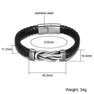 Black Genuine Leather Braided Mens Stainless Steel Magnet Bracelet