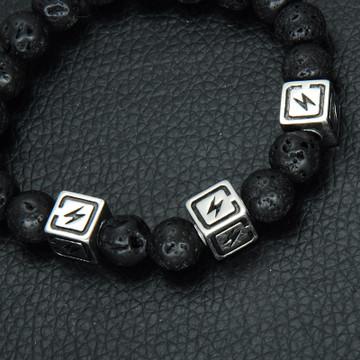 Black Natural Lava Stones Lightning Strike Bead Wristband Bracelet