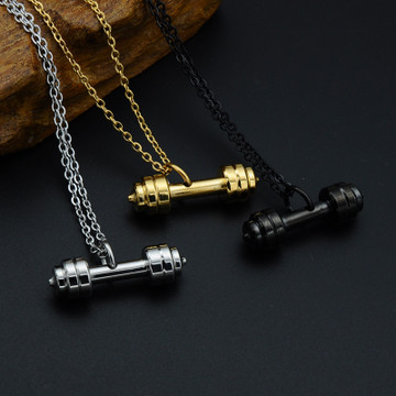 Black 316L Stainless Steel Dumbbell Gym Fitness Barbell Pendant Necklace