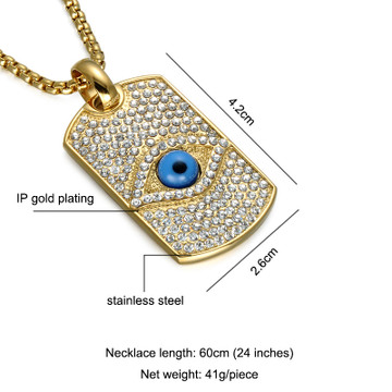 Iced Out Lab Diamond All Seeing Eye Pendant Bling 14k Gold Titanium Dog Tag Necklace