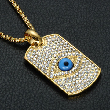 All Seeing Eye Pendant Bling 14k Gold Titanium Dog Tag