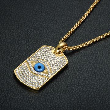 Iced Out Lab Diamond Illuminati Pyramid Eye Pendant Bling 14k Gold Titanium Dog Tag Necklace