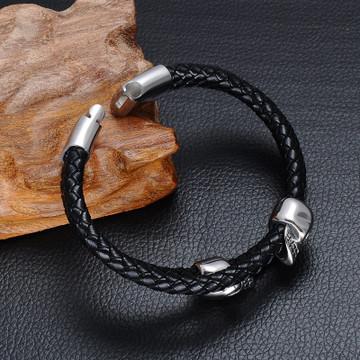 Mens Double Layer Black Genuine Leather Stainless Steel Skull Buckle Bracelet