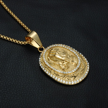 Mens Iced Out Lab Diamond Praying Hands 14k Gold Jesus Unchanging Hands Pendant