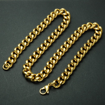 Hip Hop 24 INCH 12MM 14k Gold Titanium Stainless Steel Curb Cuban Link Chain Necklaces for Men Jewelry
