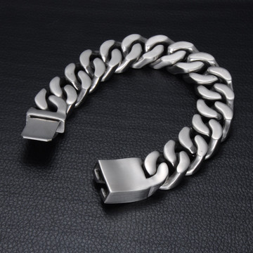 Mens 19mm Miami Cuban Curb Link Silver Titanium Stainless Steel Bracelet