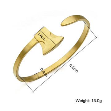 Mens Classic Design AX Shape 14k Gold Stainless Steel Open Cuff Bracelet