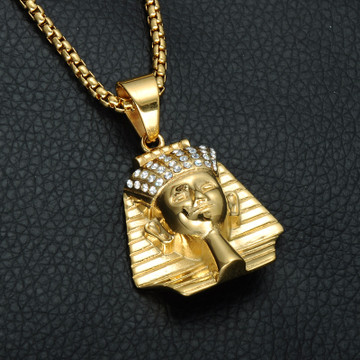 14k Gold Stainless Steel Amenhotep Ancient African Iced Out Egyptian Pharaoh Chain Pendant