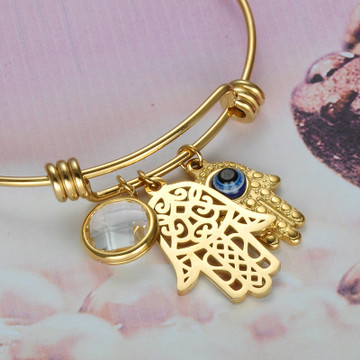 14k Gold Ladies Blue Nature Stone Evil Eye Hamsa Hand Of Fatima Stainless Steel Bracelet