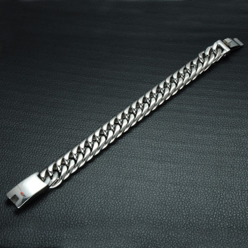 Mens Hip Hop ID Tag Silver 316L Stainless Steel Curb Cuban Link Bracelet
