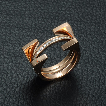 Ladies 1 Rows Crystal Pave Rose Gold High Polished Titanium Arch Ring