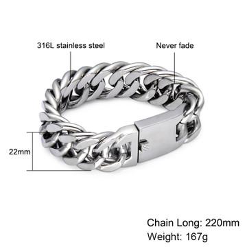 Mens Hip Hop 22MM Heavy Miami Cuban Link Silver 316L Stainless Steel Bracelet