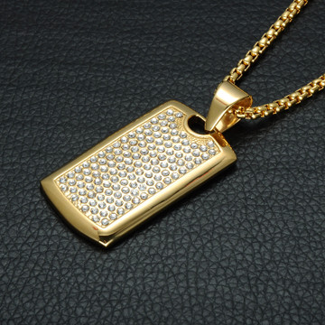 14k Gold Lab Diamond Titanium Stainless Steel Dog Tag Chain Pendant
